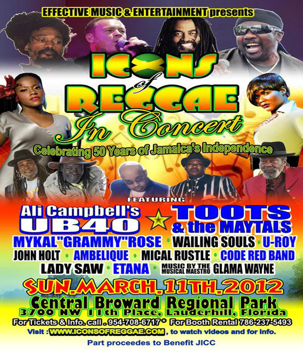 *Icons Of Reggae In Concert March 11 South Florida*