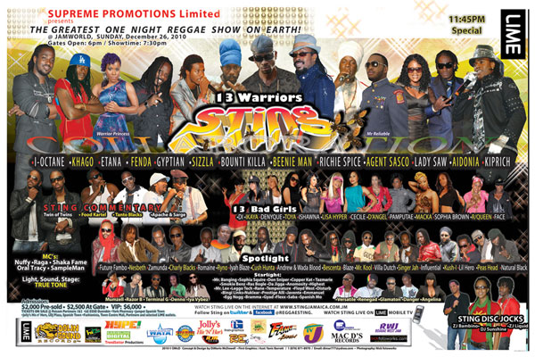 <strong>Biggest Reggae Show On Earth  &#8211; Sting 2010 &#8211; Boxing Day The Day After</strong>