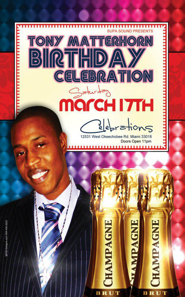Tony Matterhorn B-Day Bash Miami Tomorrow