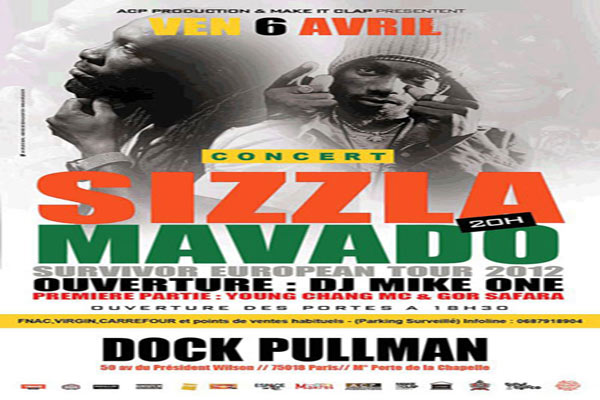 Sizzla Mavado European Tour April 2012