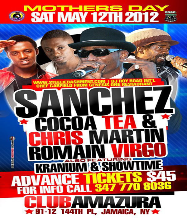 *Cocoa Tea, Sanchez,Christoper Martin,Romain Virgo Live Nyc Mother's Day Club Amazura*