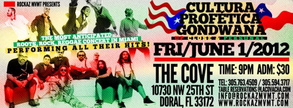 Live reggae Night Cultura profetica Gondwana Live miami june1