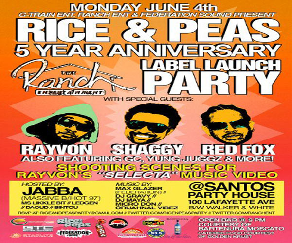 Shaggy Launches New Reggae Label At Rice & Peas 5 Year Celebration