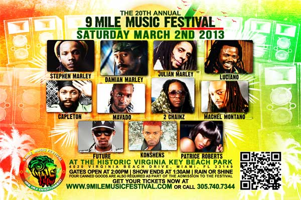 20th ANNUAL 9 MILE MUSIC FESTIVAL – MIAMI SAT MARCH 2 2013