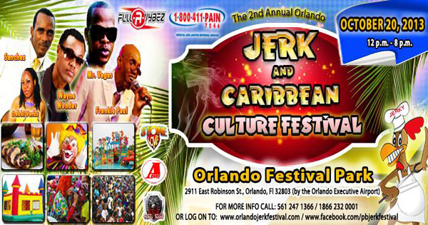 2ND ANNUAL ORLANDO JERK AND CARIBBEAN CULTURE FESTIVAL OCTOBER 20 AT ORLANDO FESTIVAL PARK