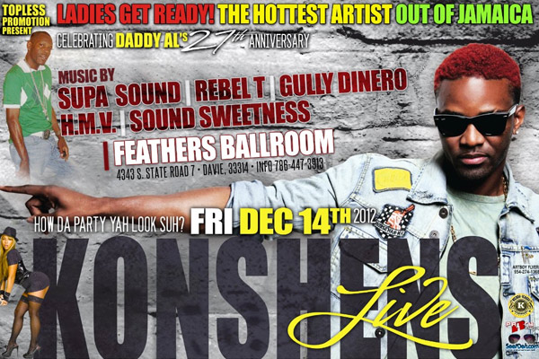 Dancehall Artist Konshens Live In South Florida Friday Dec 14