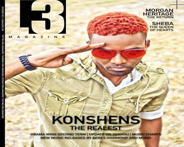 Latest news on Artist Konshens On cover of L3 Magazine nov 2012