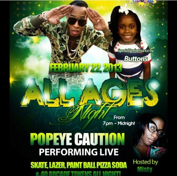 POPEYE CAUTION & REGGAE POP KIDS ALL AGES PARTY – KABOOMS FEB 22 2013