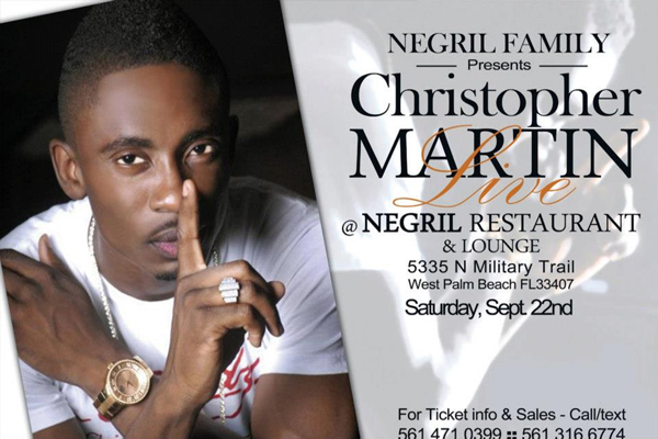 Live Reggae South Florida : Chris Martin  At Negril Restaurant West Palm Sat Sept 22