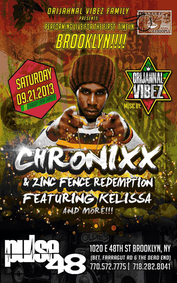 CHRONIXX & ZINC FENCE REDEMPTION BAND LIVE IN BROOKLYN SEPT 21 2013