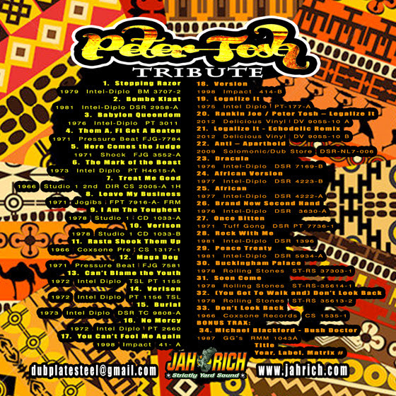 peter tosh tribute mix track listing selector jah rich