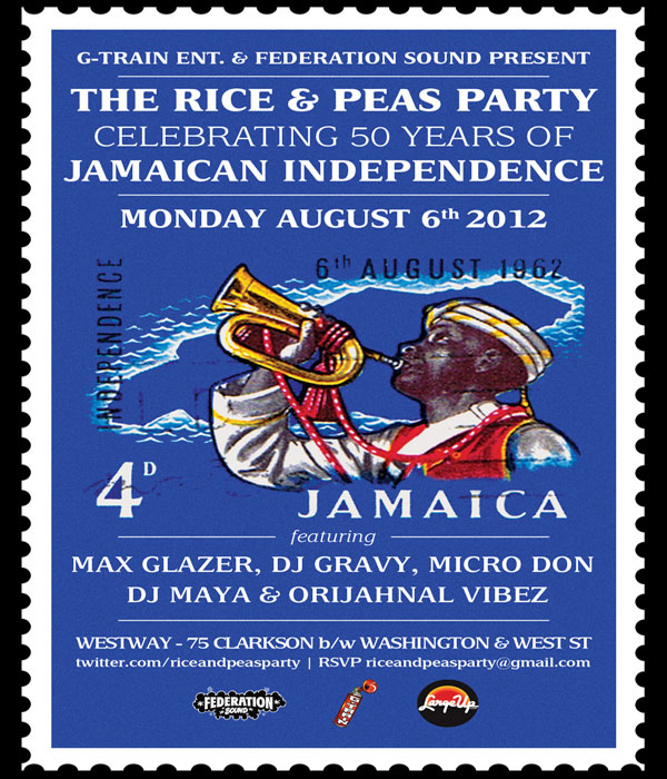 Celebrate Jamaica 50th in NYC with Rice And Peas Monday Aug 6
