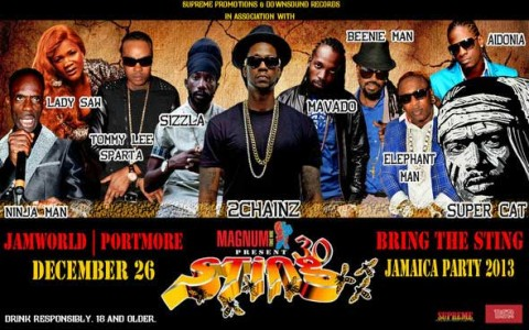 sting 30 jamaica dec 26 2013 line up