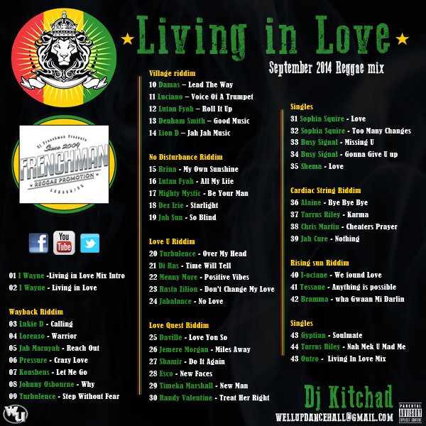 <strong>Listen &#038; Download DJ Kitchad Live In Love Reggae Free Mixtape 2014</strong>