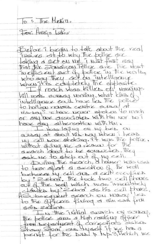 vybz kartel hand written statement on roach murder sept 2013